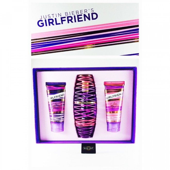 Girlfriend by Justin Bieber (Gift Set) - 100ml Eau De Parfum Spray + 100ml Body Lotion + 100ml Shower Gel (Women)