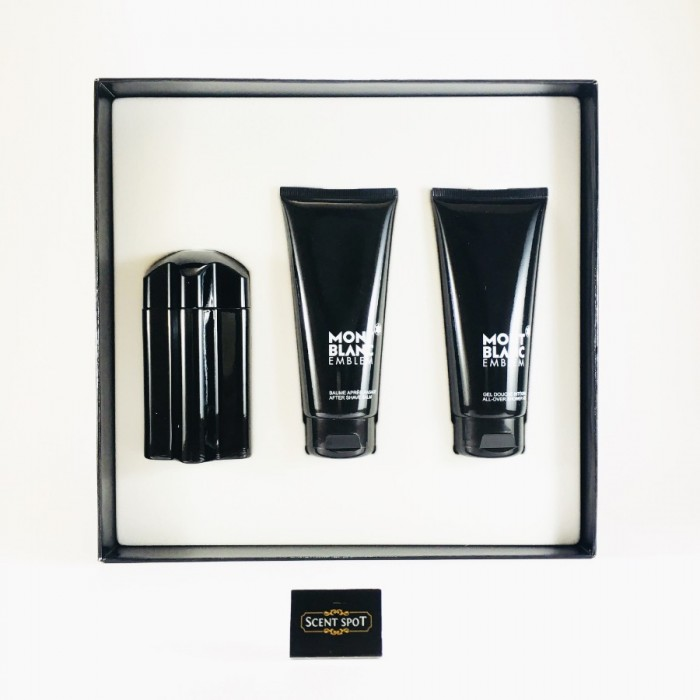 Emblem by Mont Blanc (Gift Set) - 100ml Eau De Toilette Spray + 100ml After Shave Balm + 100ml Shower Gel For Men (Men)