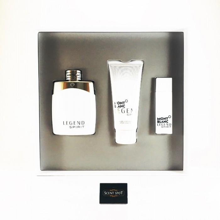 Legend Spirit by Mont Blanc (Gift Set) - 100ml Eau De Toilette Spray + 15ml Mini Eau De Toilette Spray + 100ml After Shave Balm For Men (Men)