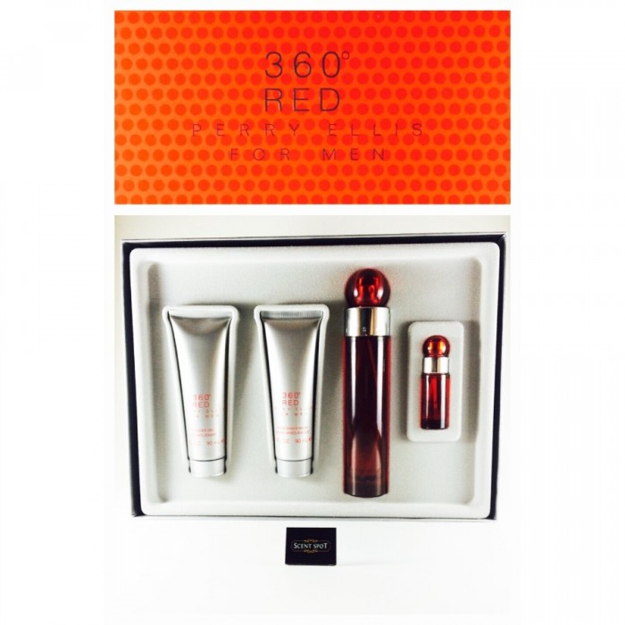 360 Red by Perry Ellis (Gift Set) - 100ml Eau De Toilette Spray + 90ml After Shave Balm + 90ml Shower Gel +7ml Eau De Toilette Spray (Men)