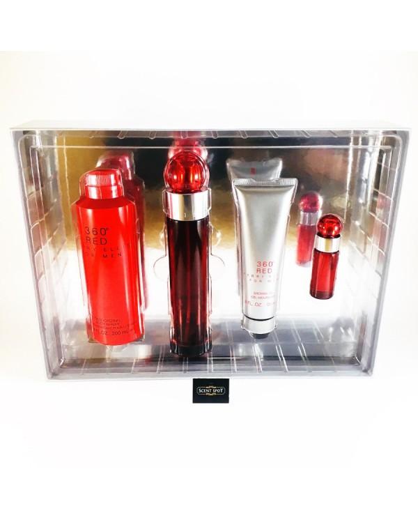 360 Red by Perry Ellis (Gift Set) - 100ml Eau De Toilette Spray + 7ml Mini Eau De Toilette Spray + 200ml Body Spray + 90ml Shower Gel For Men (Men)