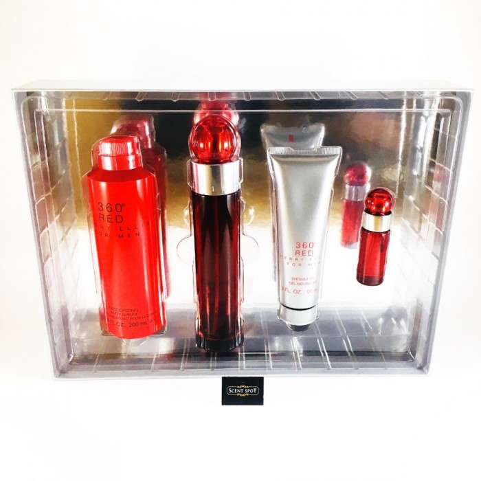 360 Red by Perry Ellis (Gift Set) - 100ml Eau De Toilette Spray + 7ml Mini Eau De Toilette Spray + 200ml Body Spray + 90ml Shower Gel For Men (Men)