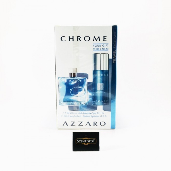 Chrome by Azzaro (Gift Set) - 100ml Eau De Toilette + 150ml Deodorant Spray For Men (Men)