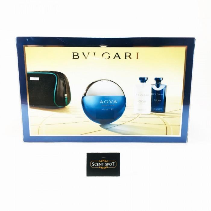 Aqua Atlantique by Bvlgari (Gift Set) - 100ml Eau De Toilette + 60ml Shower Gel + 60ml After Shave Balm In Pouch For Men (Men)