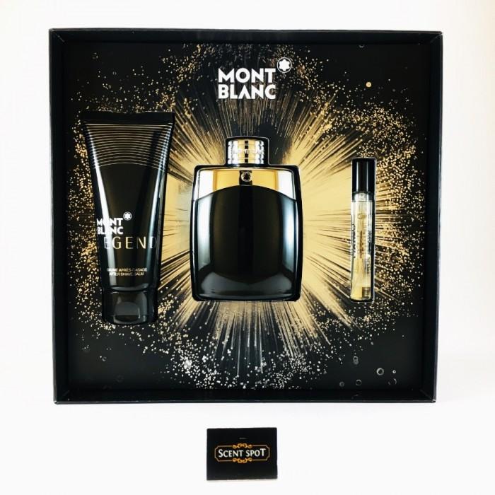 Legend by Mont Blanc (Gift Set) - 100ml Eau De Toilette + 7ml Mini Eau De Toilette Spray + 100ml After Shave Balm For Men (Men)