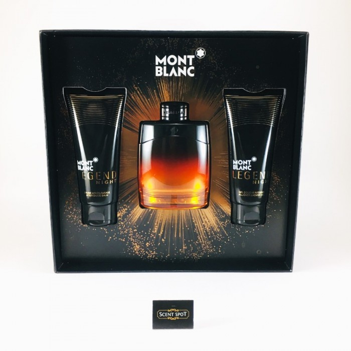 Legend Night by Mont Blanc (Gift Set) - 100ml Eau De Parfum + 100ml After Shave Balm + 100ml Shower Gel For Men (Men)