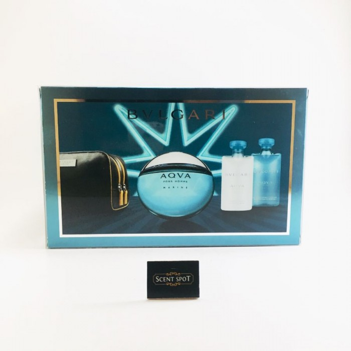 Aqua Marine by Bvlgari (Gift Set) - 100ml Eau De Toilette Spray + 75ml After Shave Balm + 75ml Shower Gel + Pouch for Men (Men)