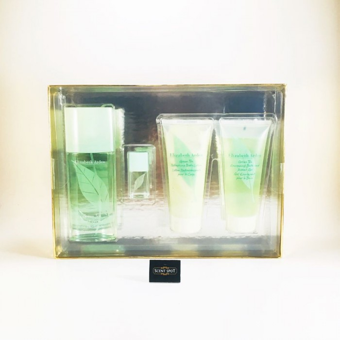 Green Tea by Elizabeth Arden (Gift Set) - 90ml Eau Pafumee Spray + 100ml Shower Gel + 100ml Conditioner + 4ml Scent Eau Parfumee for Women  Eau Parfumee (Women)