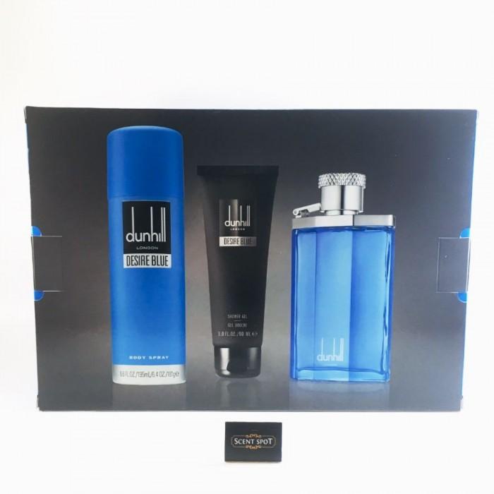 Desire Blue by Alfred Dunhill (Gift Set) - 100 ml Eau De Toilette Spray + 90 ml Shower Gel + 190 ml Body Spray (Men)