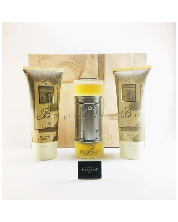 Bellagio Uomo by Bellagio (Gift Set) - 100 ml Eau De Toilette Spray + 200 ml Shower Gel + 200 ml After Shave Balm (Men)