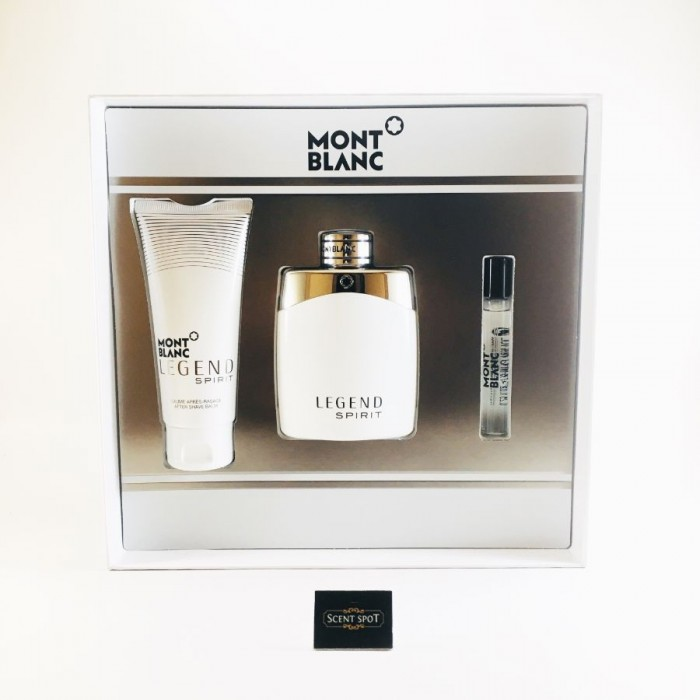 Legend Spirit by Mont Blanc (Gift Set) - 100 ml Eau De Toilette Spray + 8 ml Mini EDT Spray + 100 ml Aftershave Balm (Men)