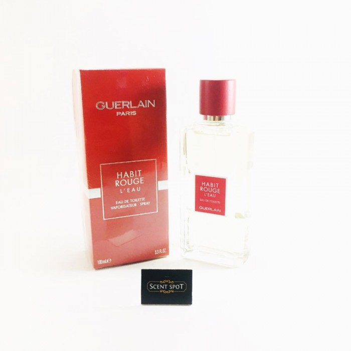 Habit Rouge L'eau by Guerlain (New in Box) 100ml Eau De Toilette Spray (Men)
