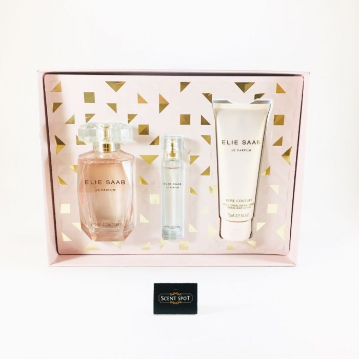 Le Parfum Rose Couture by Elie Saab (Gift Set) - 90 ml Eau De Toilette Spray + 10ml Mini EDT Spray + 75 ml Body Lotion (Women)