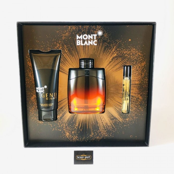 Legend Night by Mont Blanc (Gift Set) - 100ml Eau De Parfum Spray +8ml Mini EDP Spray + 100ml After Shave Balm (Men)