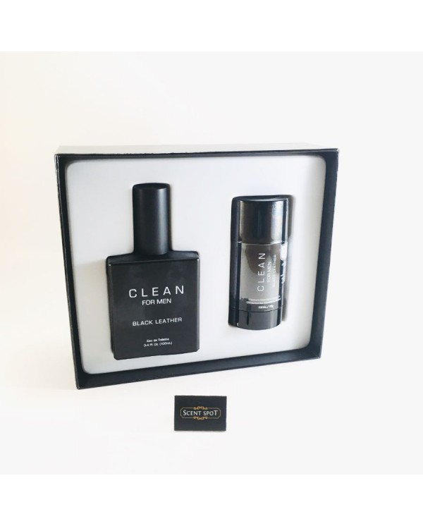 Black Leather by Clean (Gift Set) - 100ml Eau De Toilette Spray + 77ml Deodorant Stick (Men)