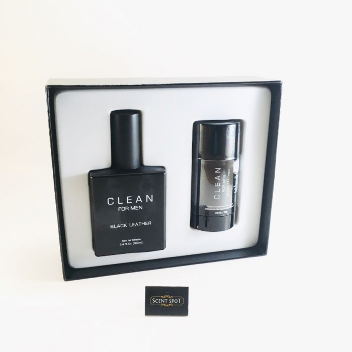 Black Leather by Clean (Gift Set) - 100ml Eau De Toilette Spray + 77ml Deodorant Stick (Men)