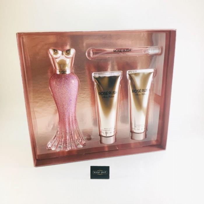 Rose Rush by Paris Hilton (Gift Set) - 100ml Eau De Parfum Spray + 11ml Mini EDP Spray + 90 ml Body Lotion + 90ml Shower Gel (Women)