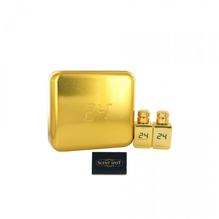 24 Gold Oud Edition by Scentstory (Gift Set) - 24 Gold 50ml Eau De Toilette Spray + 24 Gold Oud 50ml Eau De Toilette Spray (Men)