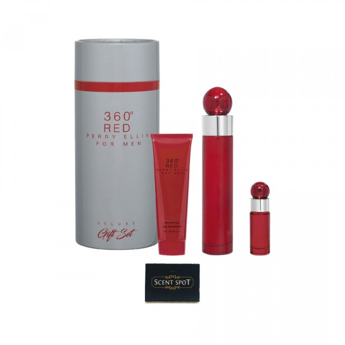 360 Red by Perry Ellis (Gift Set) - 100 ml Eau De Toilette Spray + 8 ml Mini EDT Spray + 90 ml Shower Gel in Tube Box (Men)