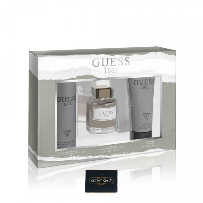 1981 by Guess (Gift Set) - 100ml Eau De Toilette Spray + 200ml Shower Gel + 226ml Body Spray (Men)
