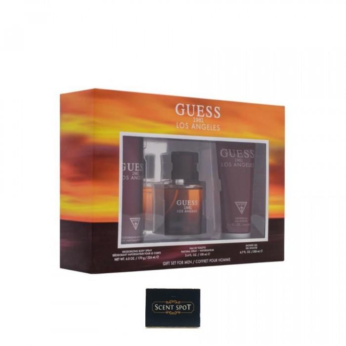 1981 Los Angeles by Guess (Gift Set) - 100ml Eau De Toilette Spray + 200ml Shower Gel + 226ml Body Spray (Men)