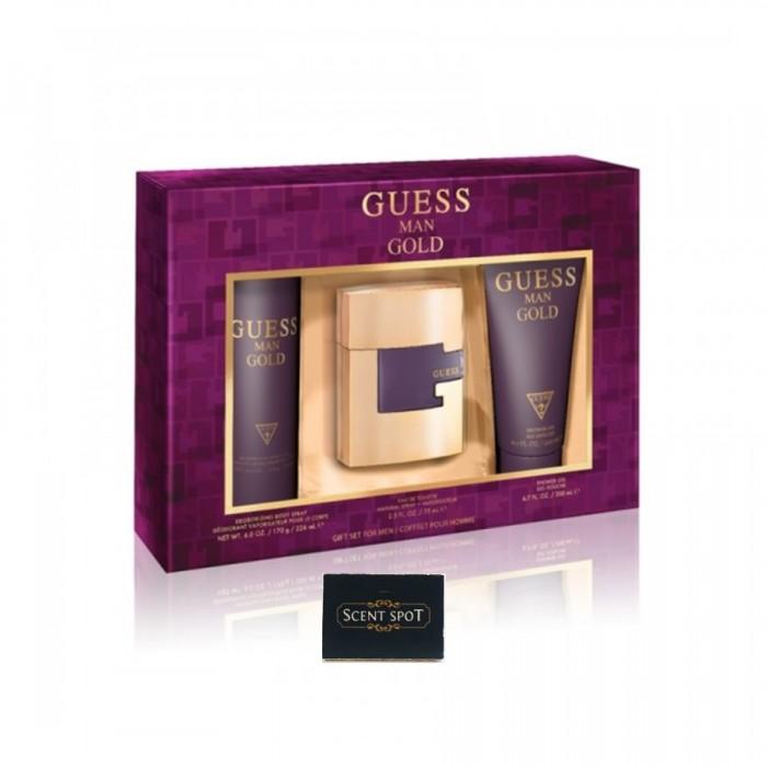 Gold by Guess (Gift Set) - 75ml Eau De Toilette Spray + 200ml Shower Gel + 226ml Body Spray (Men)