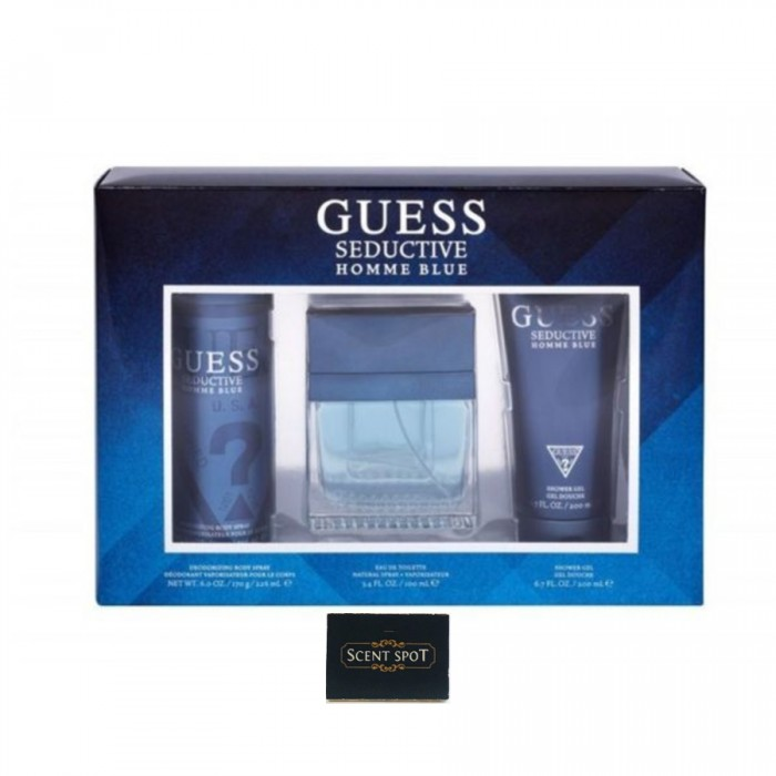 Seductive Blue by Guess (Gift Set) - 100ml Eau De Toilette Spray + 200ml Shower Gel + 226ml Body Spray (Men)