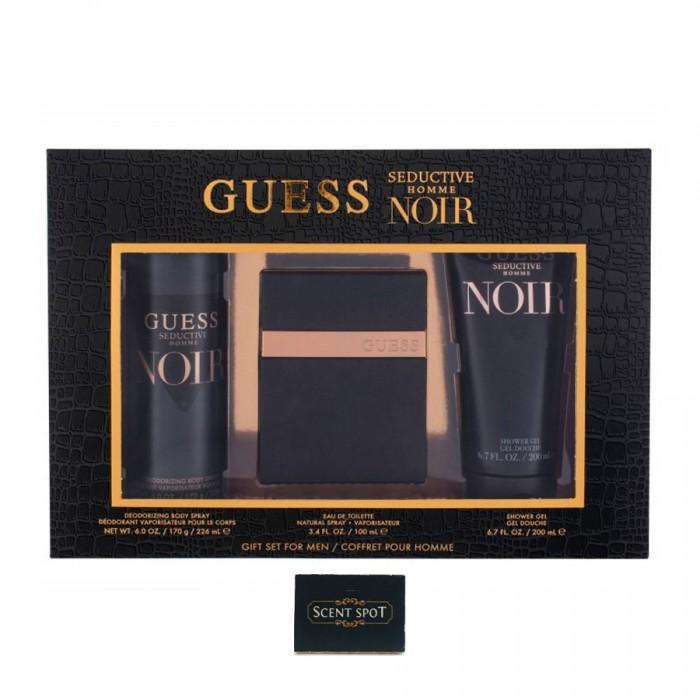 Seductive Noir by Guess (Gift Set) - 100ml Eau De Toilette Spray + 200ml Shower Gel + 226ml Body Spray (Men)