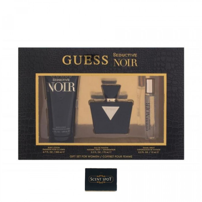 Seductive Noir by Guess (Gift Set) - 75ml Eau De Toilette Spray + 200ml Body Lotion + 15ml Mini (Women)