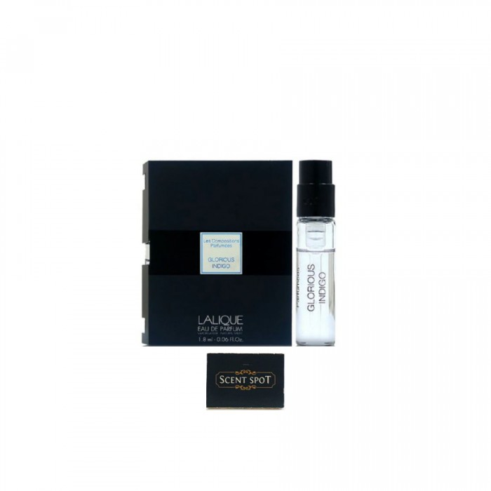 Glorious Indigo by Lalique (Vial / Sample) 1.8ml Eau De Parfum Spray (Unisex)