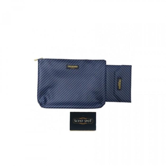 Logomania Travel Docs Kit by Trussardi (Clutch) (Colour: Black & Blue - 26.5cm x 1.6cm x 19cm + 15cm x 1cm x 10.5cm) (Men)