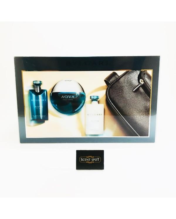 Aqua Pour Homme by Bvlgari (Gift Set) - 100ml Eau De Toilette Spray + 75ml After Shave Balm +75ml Shower Gel + (Pouch) For Men (Men)
