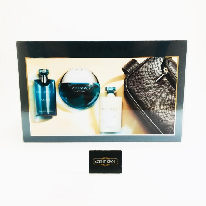 Aqua Pour Homme by Bvlgari (Gift Set) - 100ml Eau De Toilette Spray + 75ml After Shave Balm +75ml Shower Gel + (Pouch) For Men (Men)