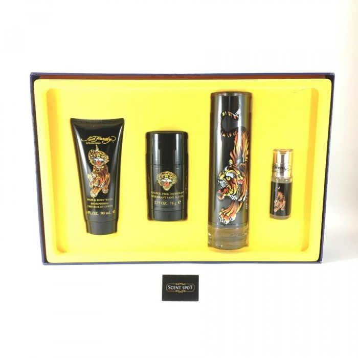 Ed Hardy by Christian Audigier (Gift Set) - 100ml Eau De Toilette Spray + 7ml Mini Eau De Toilette Spray + 90ml Shower Gel + 80ml Deodorant Stick For Men (Men)