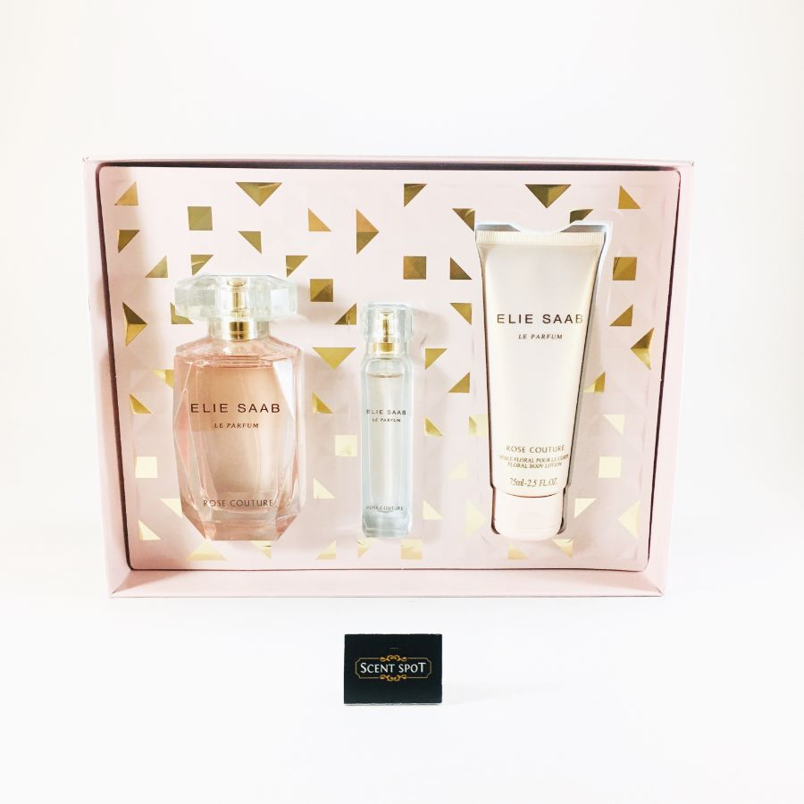 Le Parfum Rose Couture by Elie Saab (Gift Set) - 90 ml Eau De Toilette Spray + 10ml Mini EDT Spray + 75 ml Body Lotion (Women)